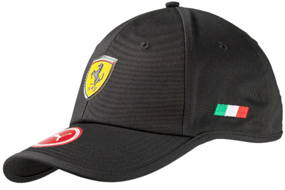 2016 PUMA SCUDERIA FERRARI SHIELD ADULT FLOWBACK CAP - BLACK