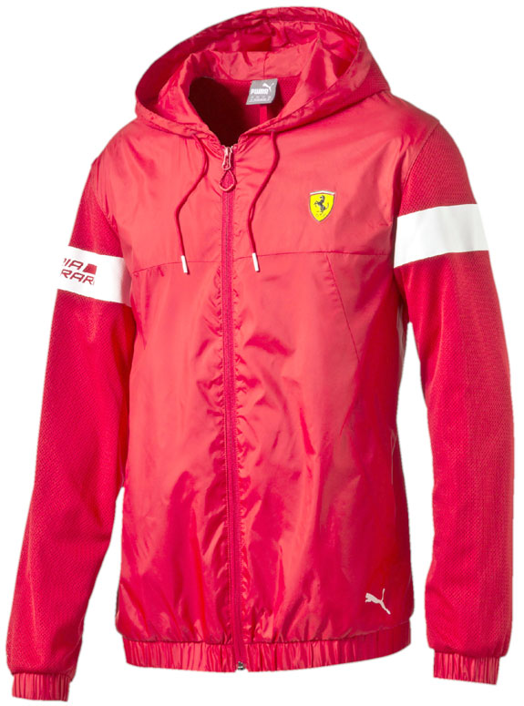 2016 PUMA SCUDERIA FERRARI HOODED WINDBREAKER ZIP JACKET - RED