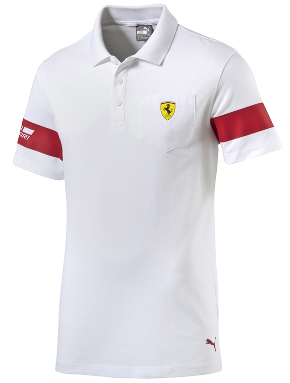 2016 PUMA SCUDERIA FERRARI SHIELD POLO T-SHIRT - WHITE