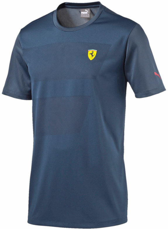 2016 PUMA SCUDERIA FERRARI SMALL SHIELD T-SHIRT - BLUE WING TEAL