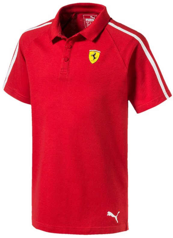 PUMA SCUDERIA FERRARI 2017 KIDS BUTTON POLO - RED