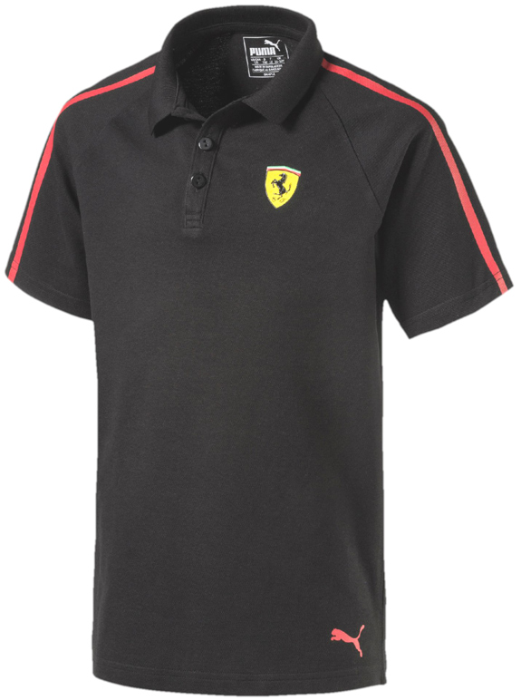 PUMA SCUDERIA FERRARI 2017 KIDS BUTTON POLO - BLACK