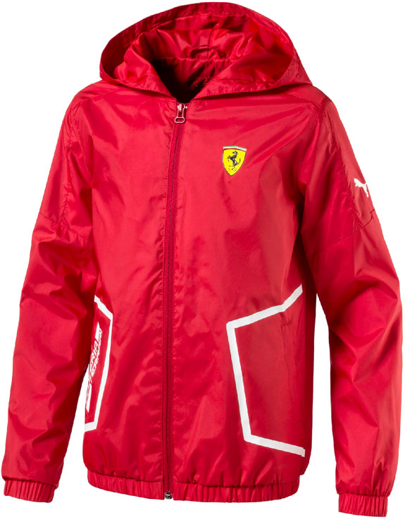 PUMA SCUDERIA FERRARI 2017 KIDS HOODED WINDBREAKER - RED
