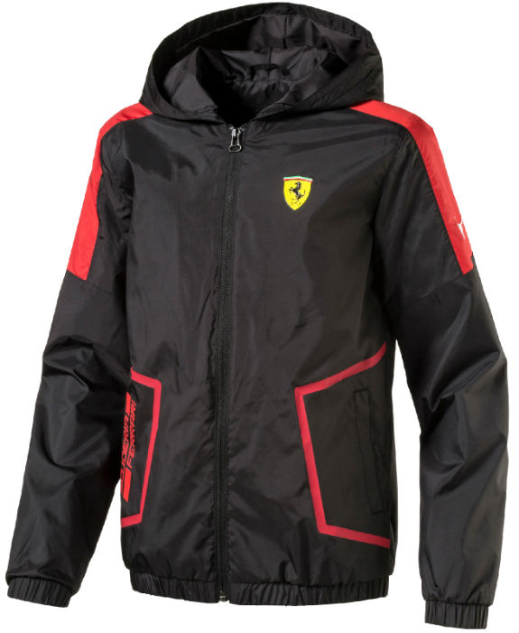 PUMA SCUDERIA FERRARI 2017 KIDS HOODED WINDBREAKER - BLACK
