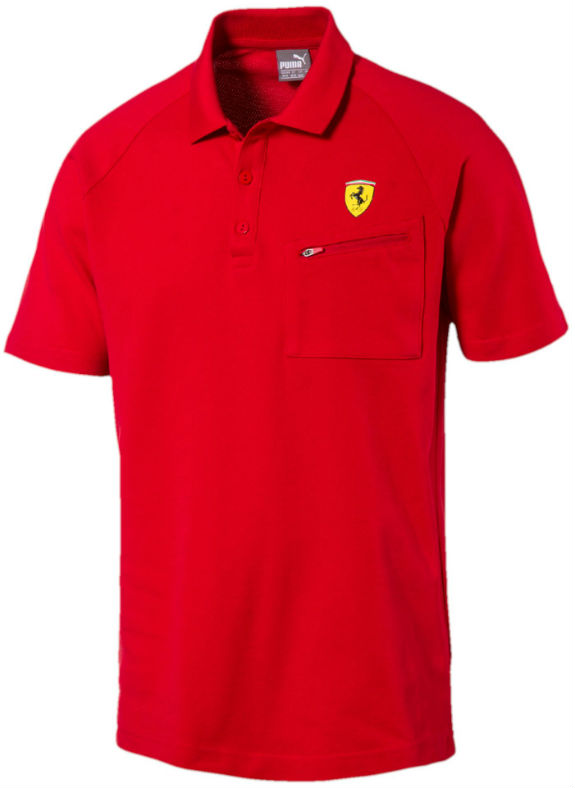 2017 PUMA SCUDERIA FERRARI SHIELD POLO ZIPPED POCKET - RED