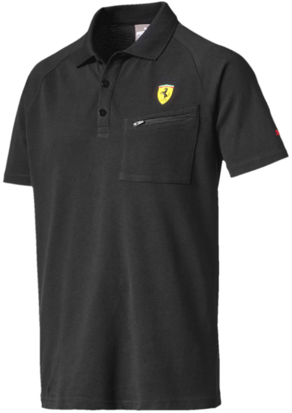 2017 PUMA SCUDERIA FERRARI SHIELD POLO ZIPPED POCKET - BLACK