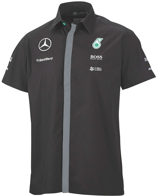 2015 MERCEDES AMG PETRONAS MENS TEAM SHIRT - BLACK