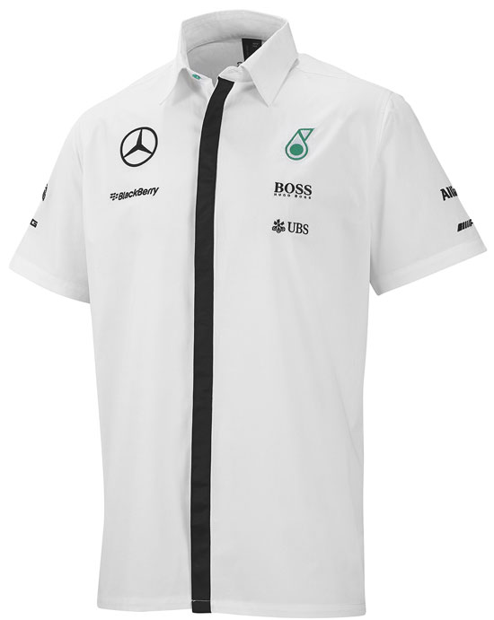2015 MERCEDES AMG PETRONAS MENS TEAM SHIRT - WHITE