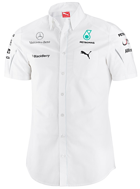 PUMA MERCEDES AMG PETRONAS 2014 MENS TEAM SHIRT - WHITE