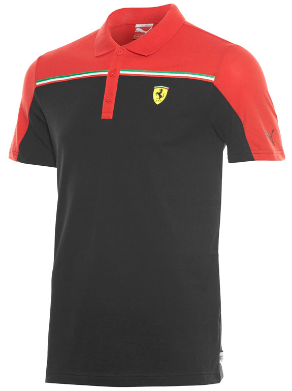 2015 PUMA SCUDERIA FERRARI SMALL SHIELD POLO- BLACK / RED