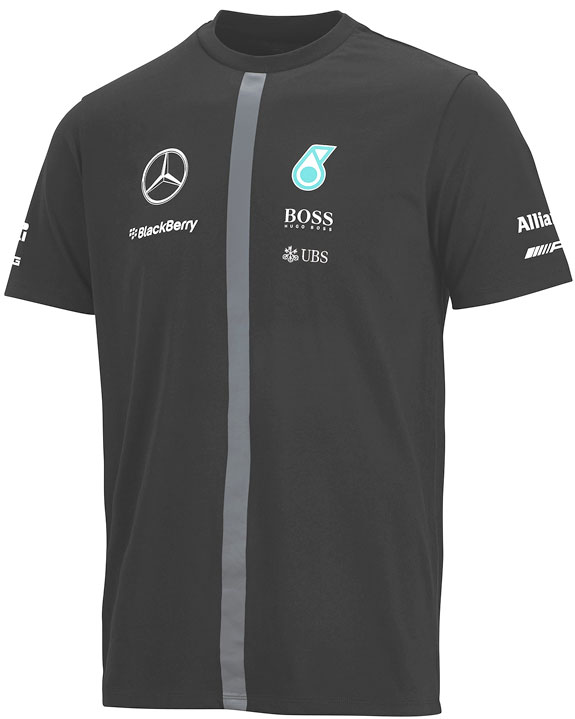 2015 MERCEDES AMG PETRONAS MENS TEAM T-SHIRT - BLACK
