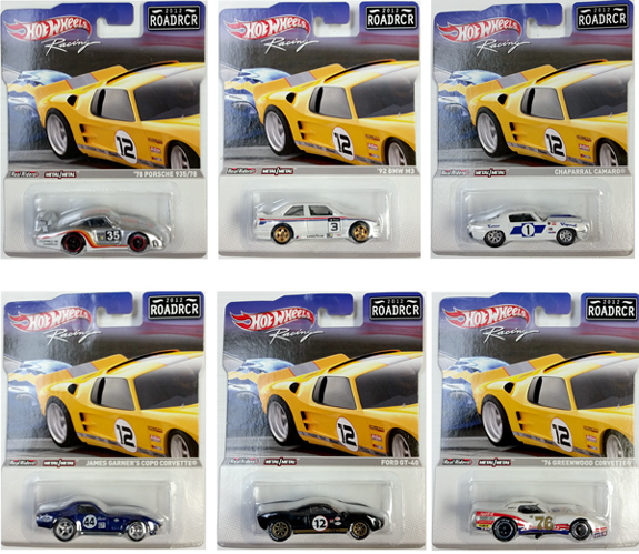 1 SET OF 6 X HOT WHEELS RACING 1/64 2012 ROADRCR ASSORTMENT