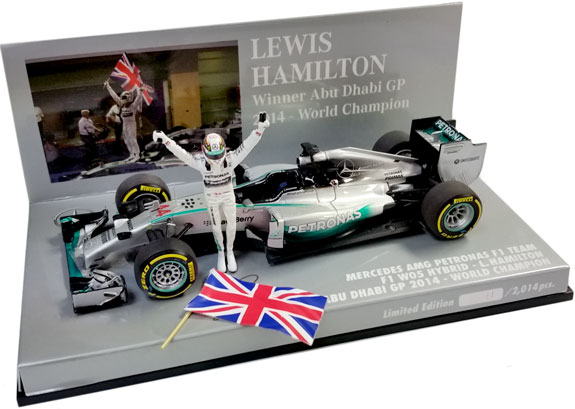 MINICHAMPS 1/43 2014 MERCEDES W05 WITH FLAG - LEWIS STANDING