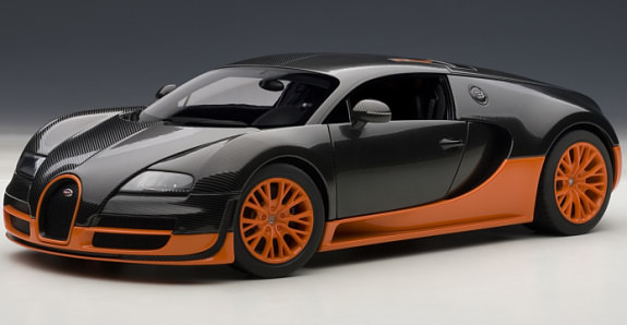AUTOART 1/18 BUGATTI VEYRON SUPER SPORT - CARBON BLACK / ORANGE