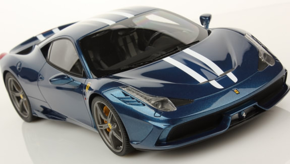 MR COLLECTION 1/18 FERRARI 458 SPECIALE - BLUE NART WHITE STRIPE