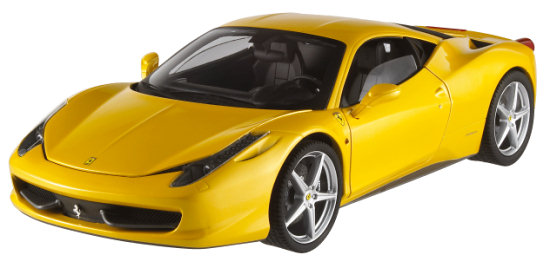 HOT WHEELS ELITE FERRARI 458 ITALIA - YELLOW
