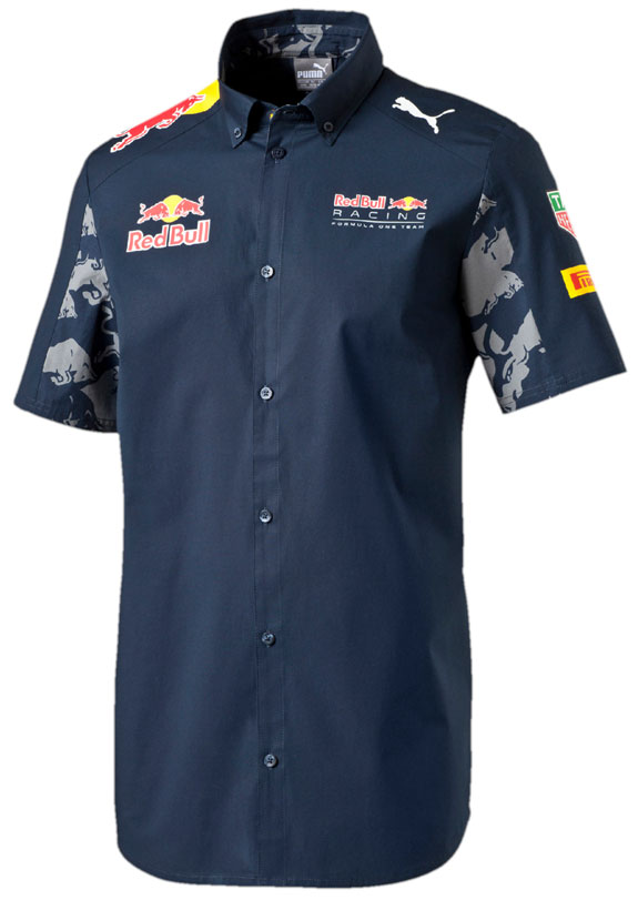 2016 puma red bull racing f1 team tag heuer button shirt for Red bull logo shirt