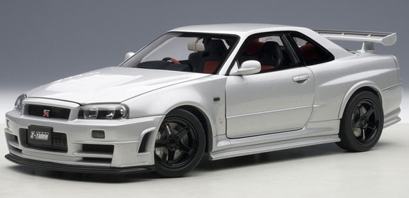 autoart 1 18 nissan skyline nismo r34 gt r z tune silver autoart 1 18 nissan skyline nismo r34. Black Bedroom Furniture Sets. Home Design Ideas